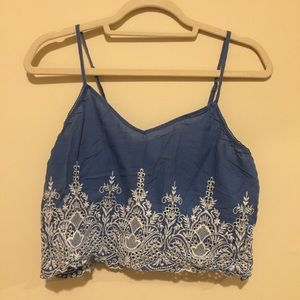 In Bloom blue pajama/crop top
